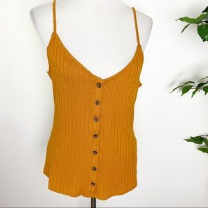 H&M Ribbed button front v neck cami Large